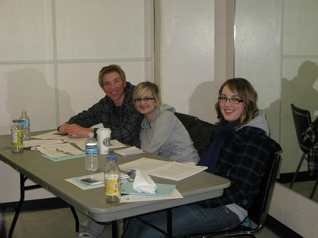 2009 March 8; Russell's daughters Caitlin + Chantal & Colby participating in the Food Safe course