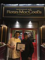 Food Safety 1st, Russell Scott presents Tyler Kitchen the 11,000th Food Safety 1st certificate!