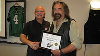 Food Safety 1st, Russell Scott presents Douglas Terry from Melfort, Sk. the 9,000th Food Safety 1st certificate!